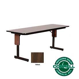tables training tables correll folding seminar table 24 x 72 walnut 257090wl. Black Bedroom Furniture Sets. Home Design Ideas
