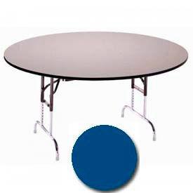 "3/4"" High Pressure Laminated Adj. Height Folding Table, 60"" Dia., Blue"