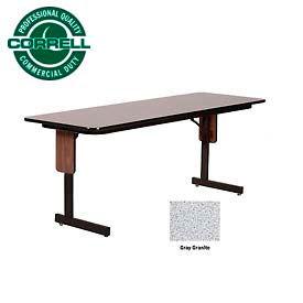 "Correll Folding Seminar Table - 24"" x 72"" - Gray Granite"