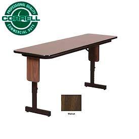 "Correll Folding Seminar Table - Adjustable Height - 24""x 60"" Walnut"