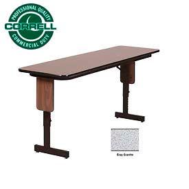 "Correll Folding Seminar Table - Adjustable Height - 18""x72"" Gray Granite"