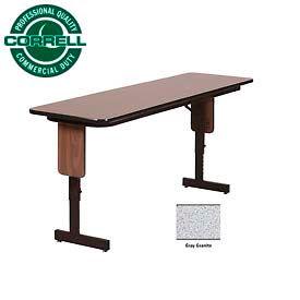 "Correll Folding Seminar Table - Adjustable Height - 24""x72"" Gray Granite"