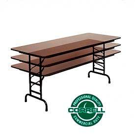 "Correll Adjustable Height Folding Table - Laminate - 30"" x 60"" - Walnut"