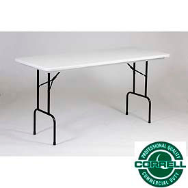 """Correll Folding Table - Counter Height - Blow Molded Plastic - 30"""" x 72"""" x 36""""H - Gray"""