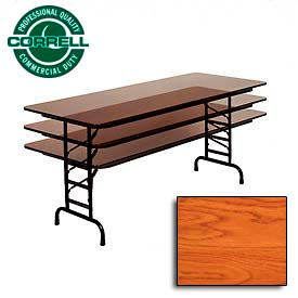 "Correll Adjustable Height Folding Table - Laminate - 30"" x 96"" - Medium Oak"