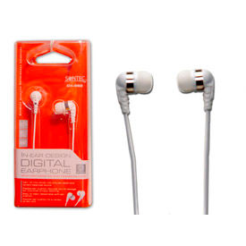 Digital Earbuds with 4' Cord and 3.5mm Stereo Plug, White