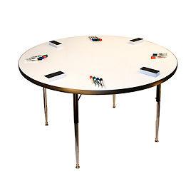 "Whiteboard Activity Table 48"" Diameter Circle, Juvenile Adjustable Height"