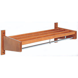 4' Width Stained Hardwood Wall Mounted Coat Rack, Mahogany