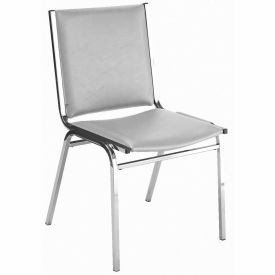"""Durable Multi-Purpose Armless Stack Chair - 1"""" thick Seat Light Gray Vinyl"""