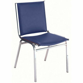 """Durable Multi-Purpose Armless Stack Chair - 1"""" thick Seat Navy Vinyl"""