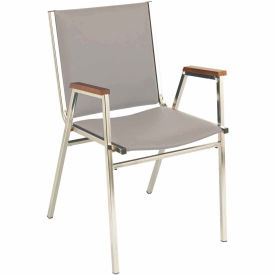 """Durable Multi-Purpose Arm Stack Chair - 1"""" thick Seat Light Gray Vinyl"""
