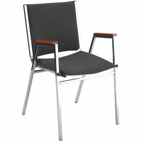 """KFI Stack Chair With Arms - Vinyl -1"""" thick Seat Black Vinyl"""