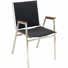 """KFI Stack Chair With Arms - Fabric -1"""" thick Seat Black Fabric"""