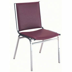 """Durable Multi-Purpose Armless Stack Chair - 2"""" thick Seat Burgundy Vinyl"""