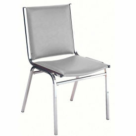 """Durable Multi-Purpose Armless Stack Chair - 2"""" thick Seat Light Gray Vinyl"""