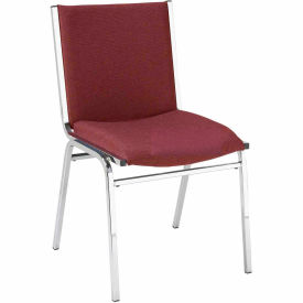 "Durable Multi-Purpose Armless Stack Chair - 2"" thick Seat Burgundy Fabric"