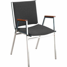 """Durable Multi-Purpose Arm Stack Chair - 2"""" thick Seat Black Vinyl"""