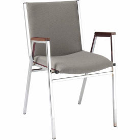 """Durable Multi-Purpose Arm Stack Chair - 2"""" thick Seat Gray Fabric"""