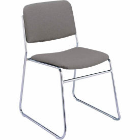 KFI Armless Stack Chair with Sled Base - Gray Fabric