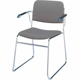 Sled Base Arm Stack Chair - Gray Fabric