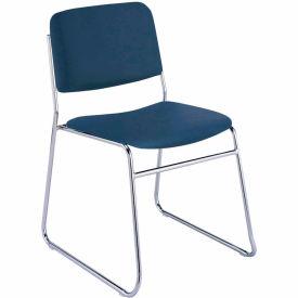 Sled Base Armless Stack Chair - Navy Vinyl