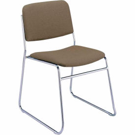 KFI Armless Stack Chair with Sled Base - Brown Fabric