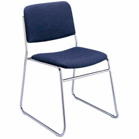 Sled Base Armless Stack Chair - Navy Fabric