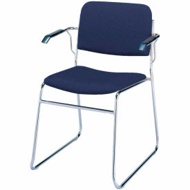 KFI Stack Chair with Arms and Sled Base - Navy Fabric