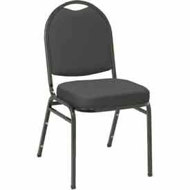 Heavy Duty Banquet Stacking Chair - Black Fabric /Black Frame