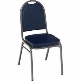 Heavy Duty Banquet Stacking Chair - Navy Vinyl /Silver Vein Frame