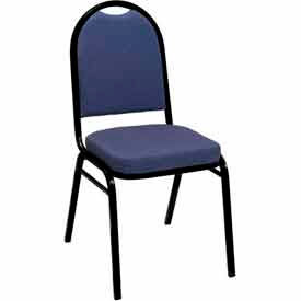 Heavy Duty Banquet Stacking Chair - Blue Pindot Fabric /Black Frame