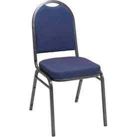 Heavy Duty Banquet Stacking Chair - Blue Pindot Fabric /Silver Vein Frame