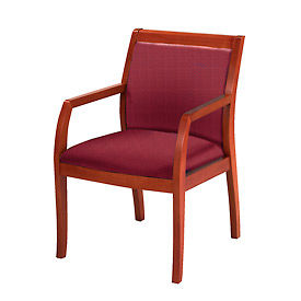 KFI Wood Guest Chair -  Fabric - Burgundy/Cherry
