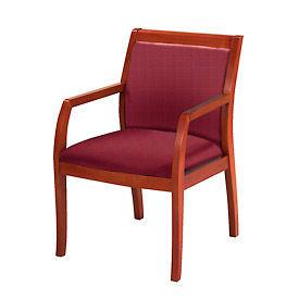 KFI Wood Guest Chair -  Fabric - Burgundy/Cherry