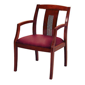 KFI Wood Guest Chair with Slat Back - Fabric - Burgundy/Cherry