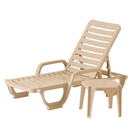 Grosfillex® Bahia Adjustable Resin Chaise - Sand (Sold in Pk. Qty 18) - Pkg Qty 18