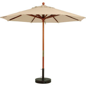 Grosfillex® 7' Wooden Market Outdoor Umbrella, Khaki