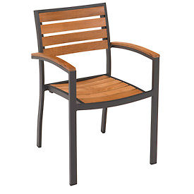 KFI Outdoor Stackable Arm Chair - Teak