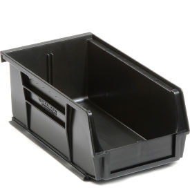 Global™ Plastic Stacking Bins - Parts Storage Bin 4-1/8 x 7-3/8 x 3, Black - Pkg Qty 24