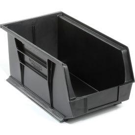 Global™ Plastic Stacking Bins - Parts Storage Bin 8-1/4 x 14-3/4 x 7, Black - Pkg Qty 12
