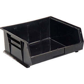 Global™ Plastc Stacking Bins - Parts Storage Bin 16-1/2 x 14-3/4 x 7, Black - Pkg Qty 6