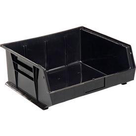 Global™ Plastic Stacking Bins - Parts Storage Bin 16-1/2 x 14-3/4 x 7, Black - Pkg Qty 6