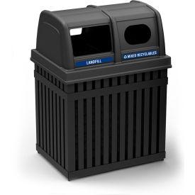 ArchTec Parkview Double Trash Container, Two 25 Gallon Units - Black 72720199