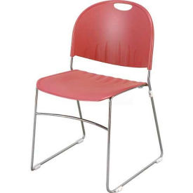 KFI Armless Stack Chair with Sled Base - Burgundy Plastic