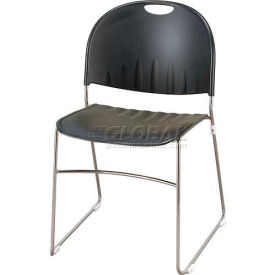 KFI Armless Stack Chair with Sled Base - Black Plastic