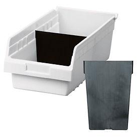 Akro-Mils Shelf Bin Divider 40040 For 30080 & 30088 Bins, Black, Pack of 12