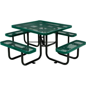 """46"""" Square Outdoor Steel Picnic Table - Expanded Metal - Green"""