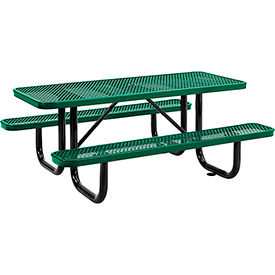 "72"" Rectangular Expanded Metal Picnic Table Green"