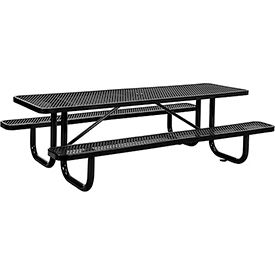 8 ft. Rectangular Outdoor Steel Picnic Table - Expanded Metal - Black