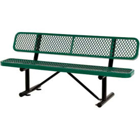 """72""""  Expanded Metal Mesh Bench With Back Rest Green"""